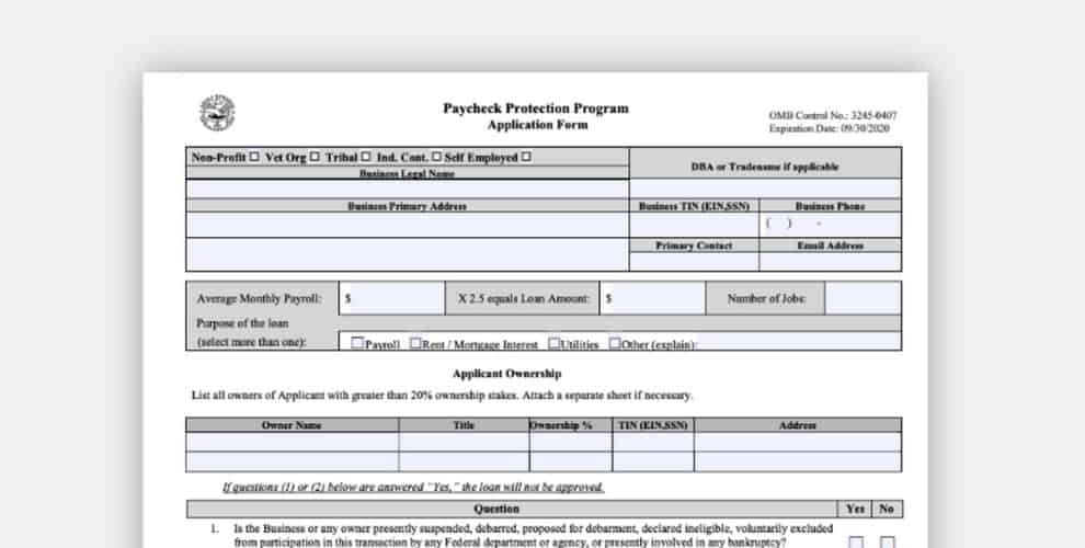 Fill Out PPP Application Form