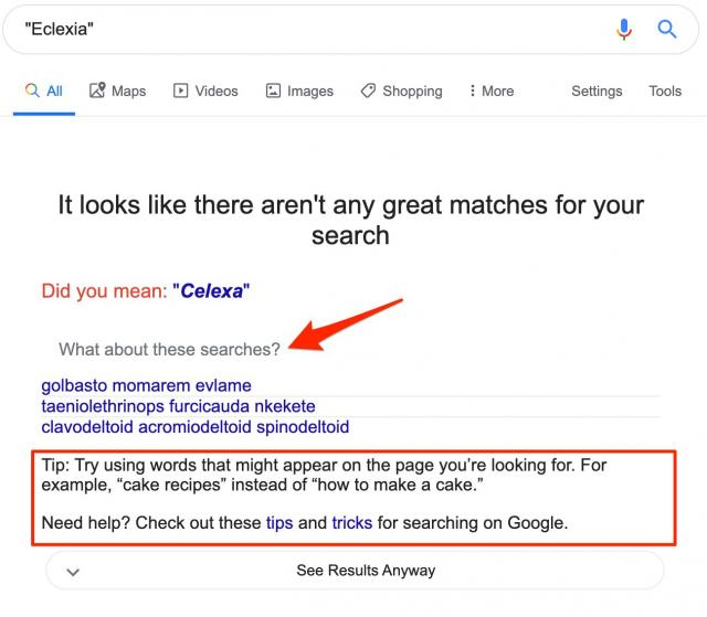 Google search great matches feature