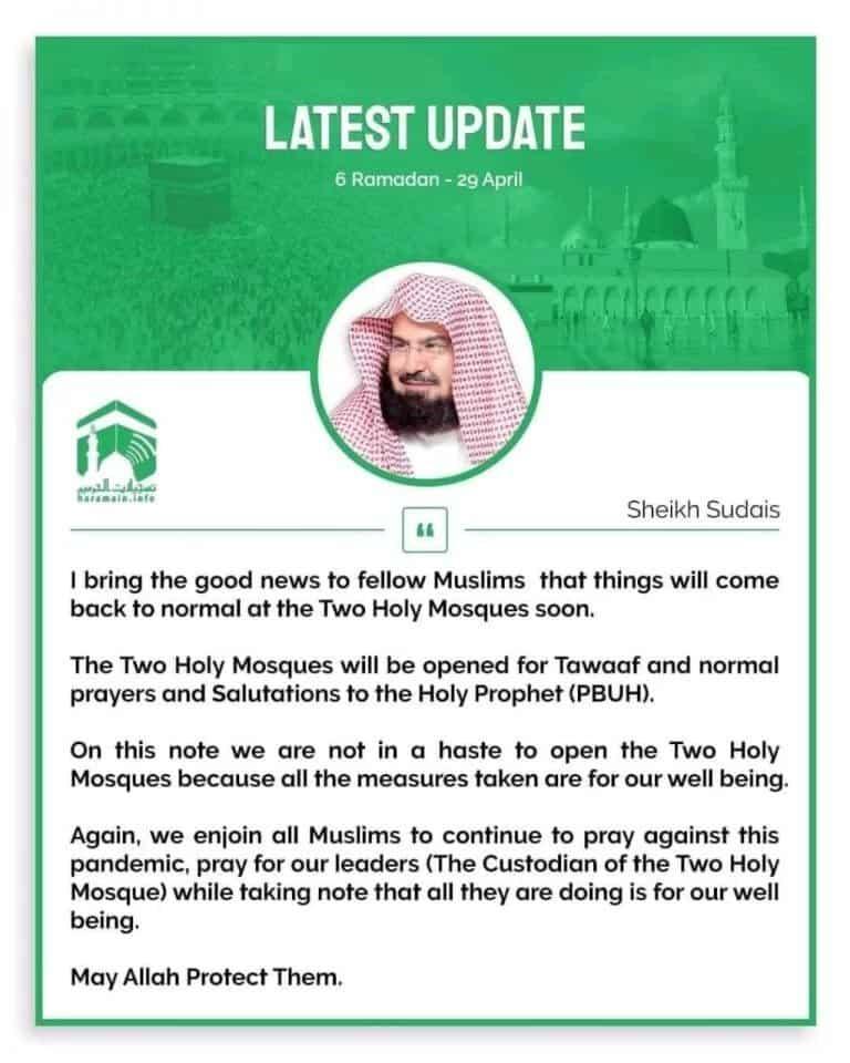 Sheikh Sudais message Masjid al Haram Masjid Al Nabwi