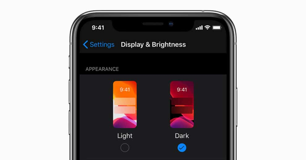 iOS 13 dark mode list apps
