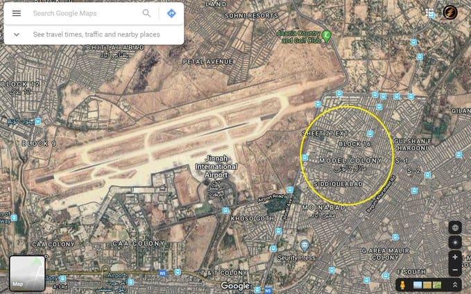 map of the area where plane crash