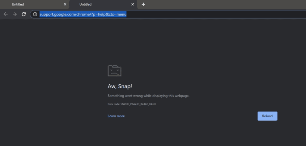 Google Chrome Aw Snap! STATUS_INVALID_IMAGE_HASH