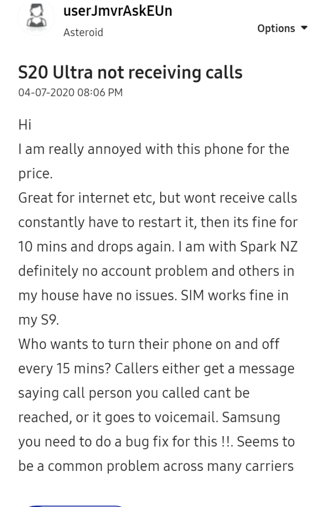 Galaxy S20 Ultra Users Are Not Receiving Calls