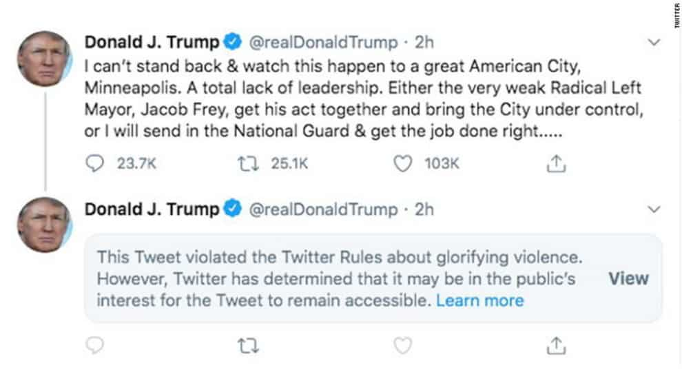 Trump Tweet Violated The Twitter Rules About Glorifying Violence