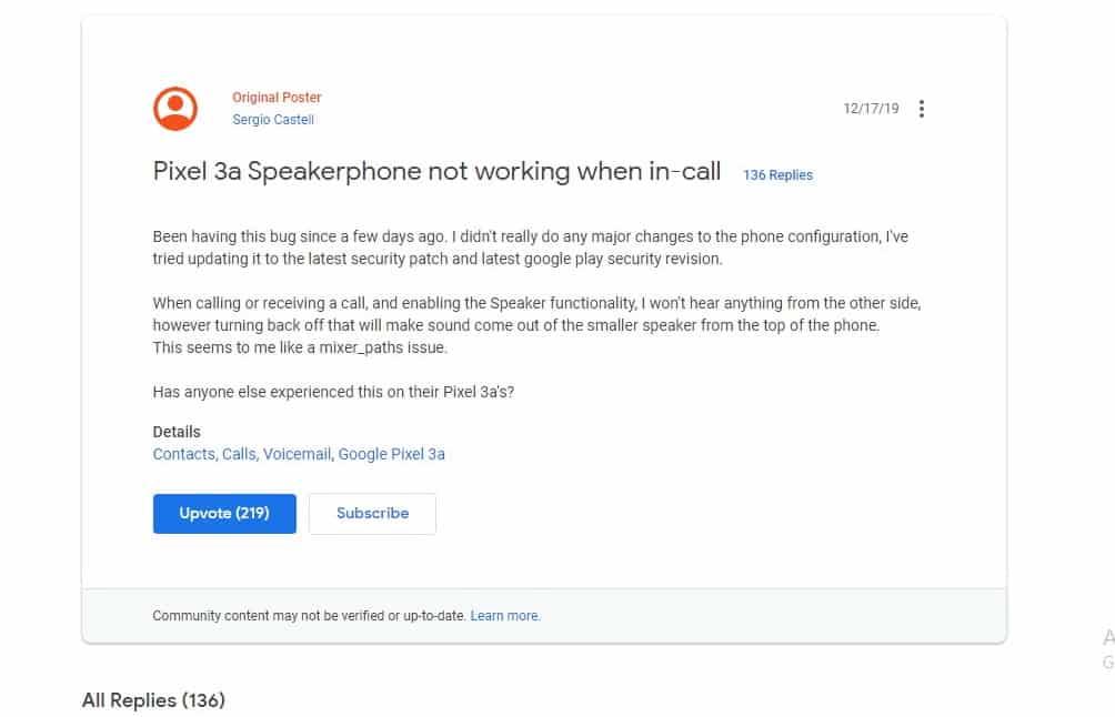 google pixel 3a speakerphone issue