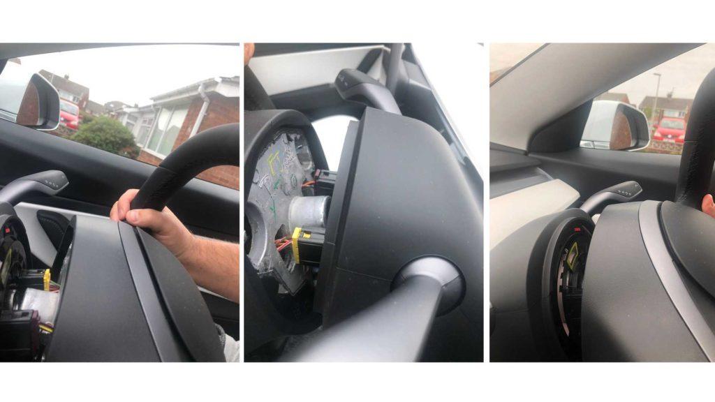 tesla model 3 steering wheel fells off