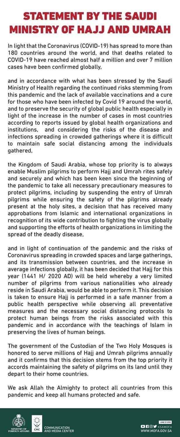 Saudi Arabia Hajj Statement