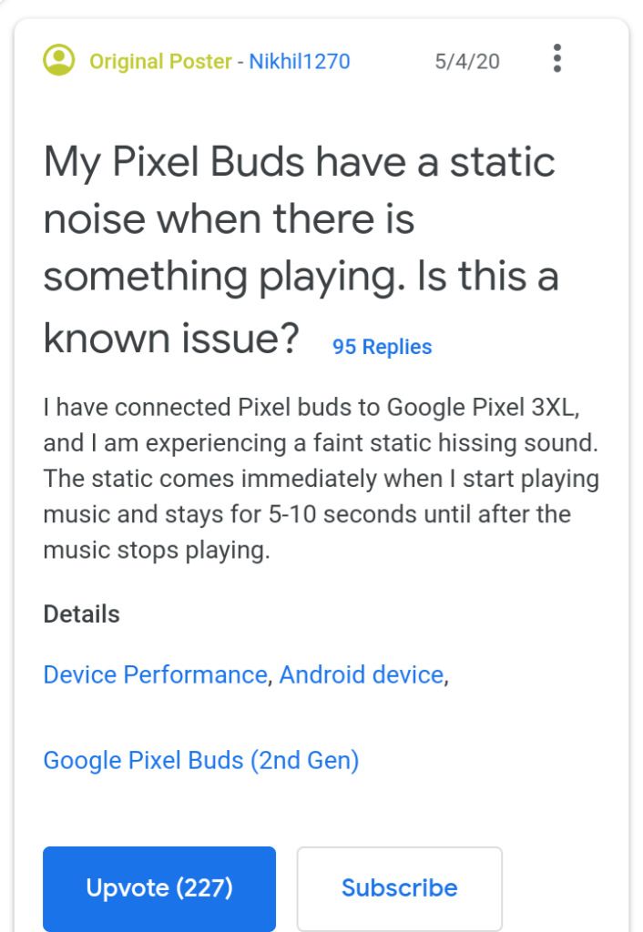 Google Pixel Buds Hissing Sound Issue