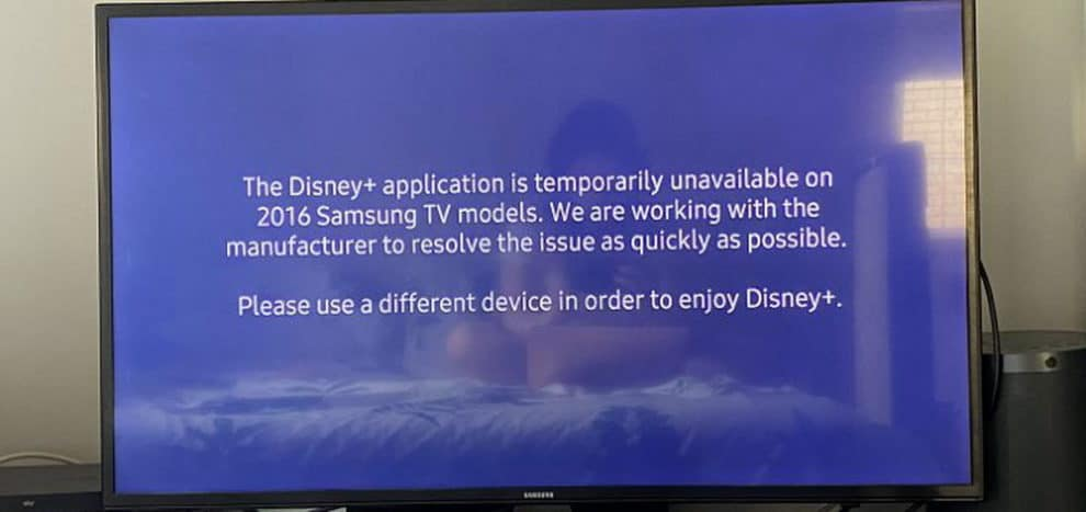 Samsung TV disney+ app temporarily unavailable