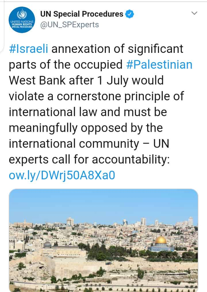 UN claims not to support Israel's Annexation Plan