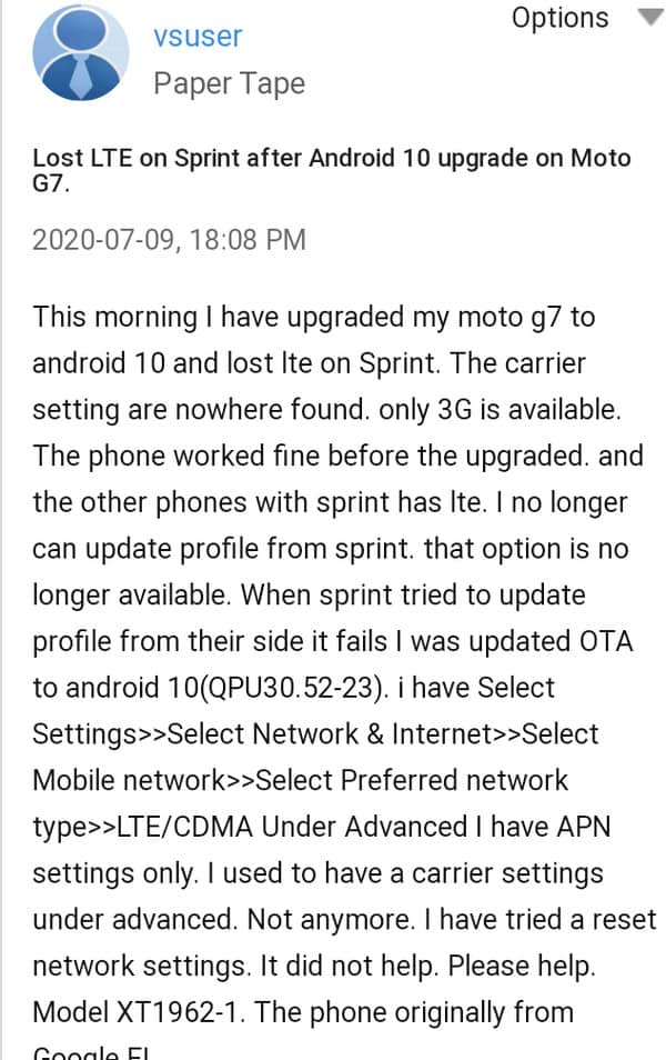 Moto G7 LTE Issue Pops-Up After Android 10 Update