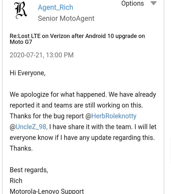 Moto G7 LTE internet isuses