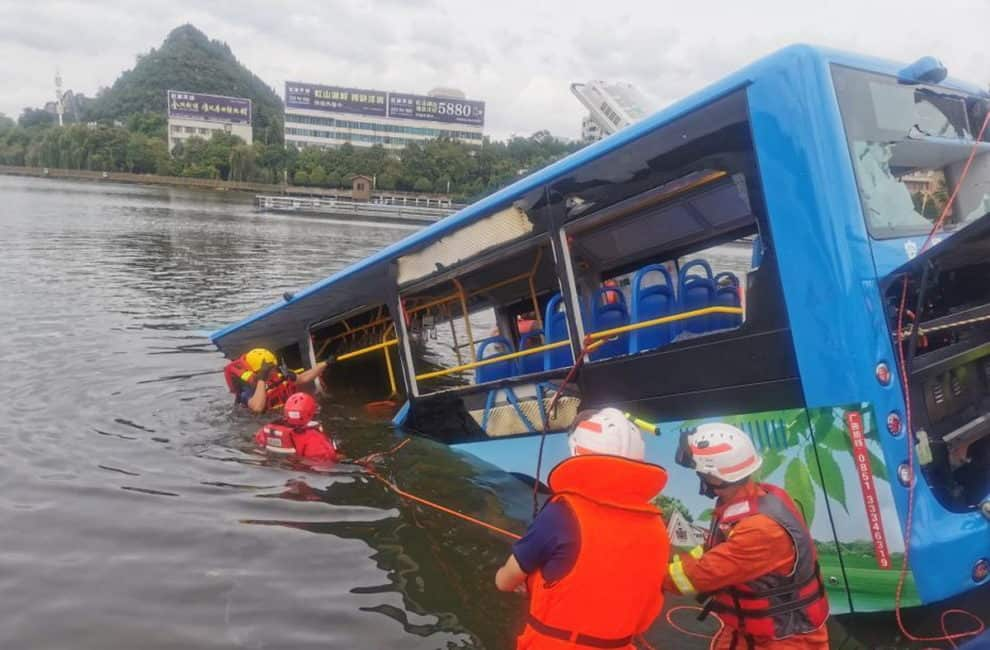 Anshun City China bus crash Video