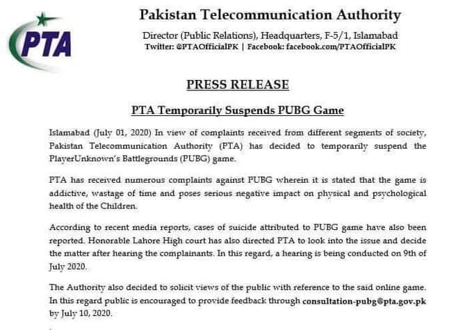 PTA ban PUBG letter