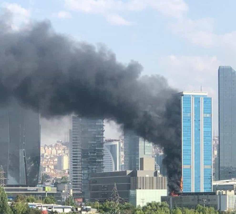 business center fire via tower ankara turkey
