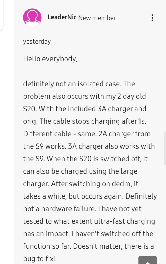 Galaxy S20 charging issue