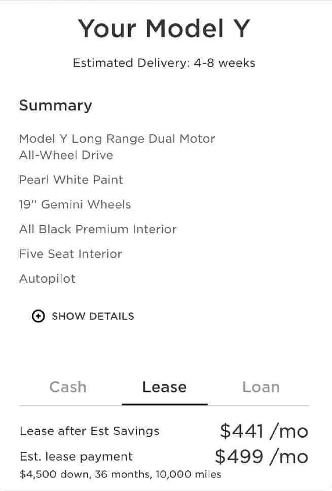 Tesla Model Y lease option price payment plan