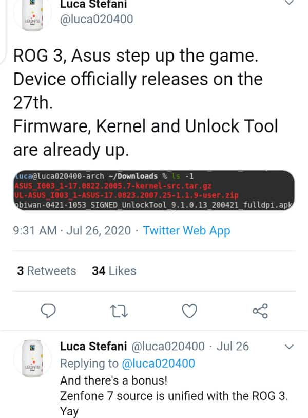 Kernel Source Code For Asus ROG Phone 3 Now Up For Grab