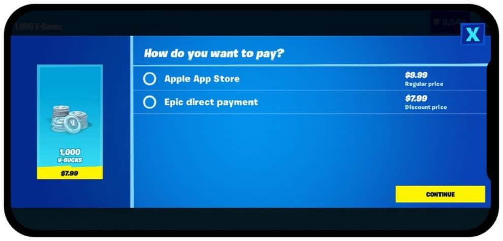 Apple Fortnite app store