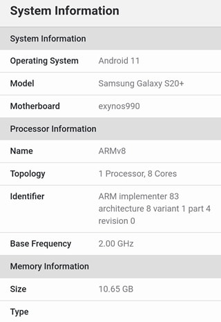 Geekbench Test Samsung Galaxy S20+  Android 11