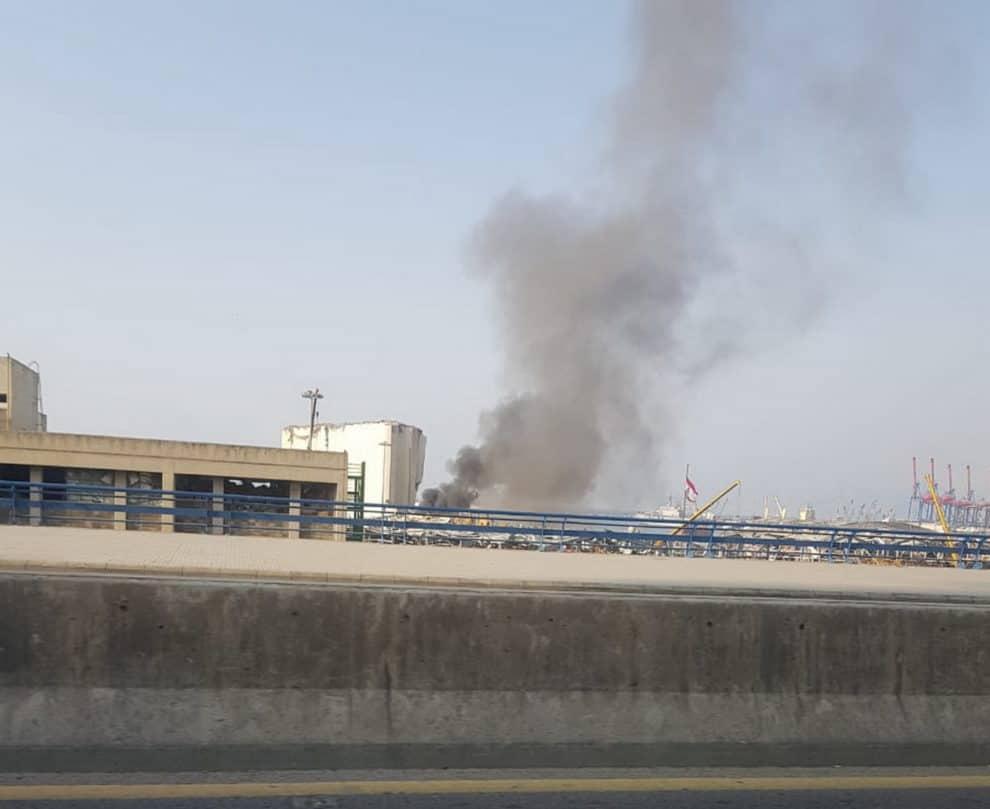 Beirut port garbage fire video