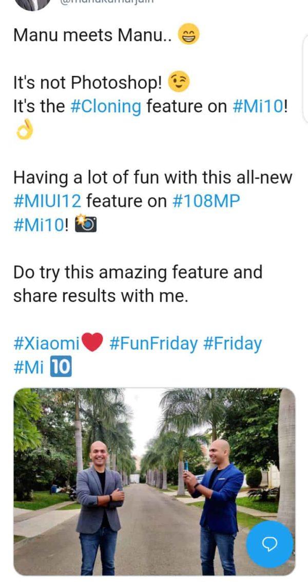 screenshot showing how the Xiaomi MIUI 12 Magic Clone Camera Feature works
