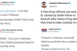 Indian media fake news civil war Karachi