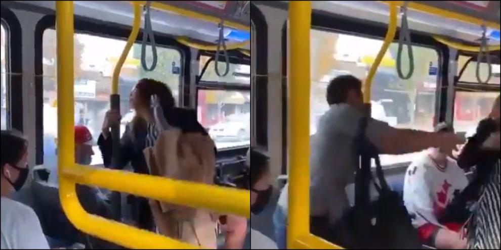 Woman spit vancouver bus Video man shove