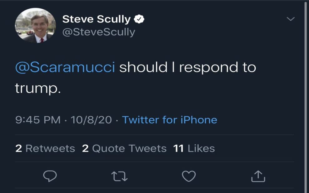 Steve Scully Should I Respond Trump Scully Twitter account hacked