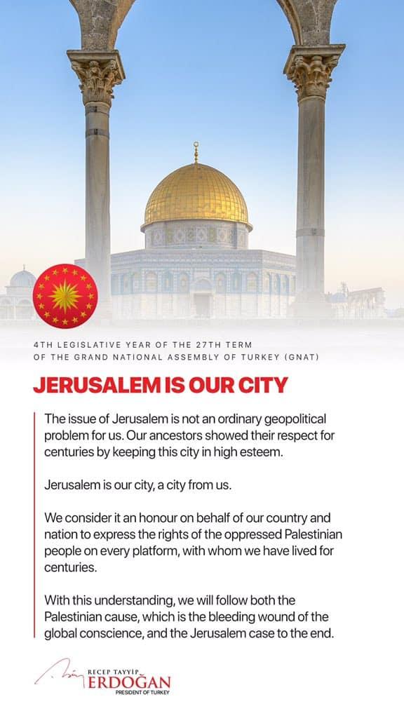 Jerusalem is ours - Erdogan