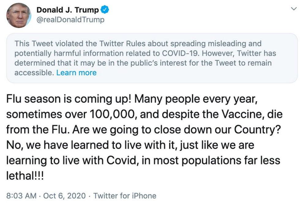 Facebook trump post comparing Flu with COVID-19