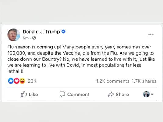 Facebook trump covid-19 flu