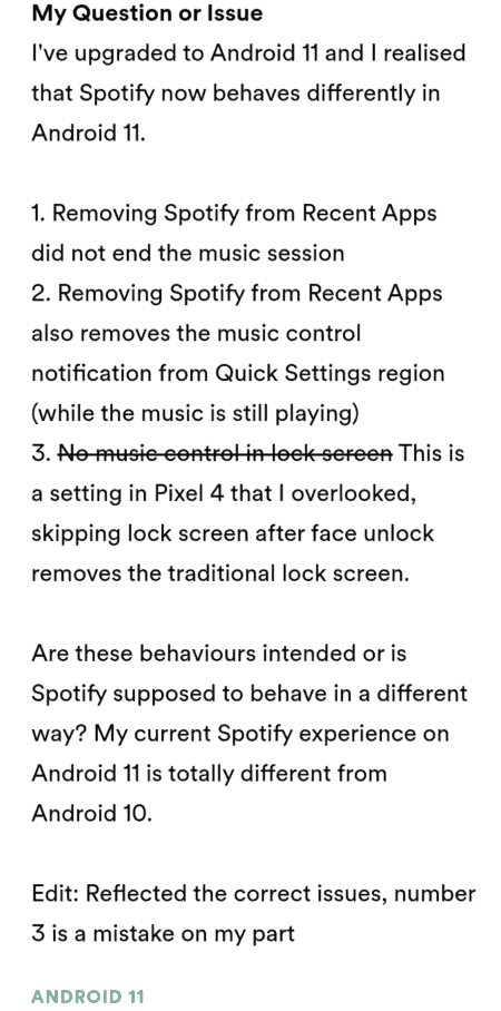 Spotify Issues Introduced By Android 11 Update