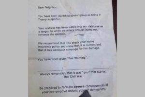 Dear Neighbor letter Trump Supporters home Fair Warning