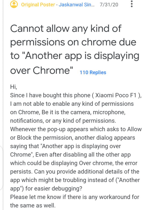 Google Chrome Users Are Experiencing 'Another app is displaying over Chrome' Issue