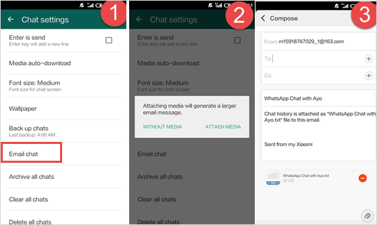 ransfer WhatsApp chat data from Android to iPhone via Email Chat