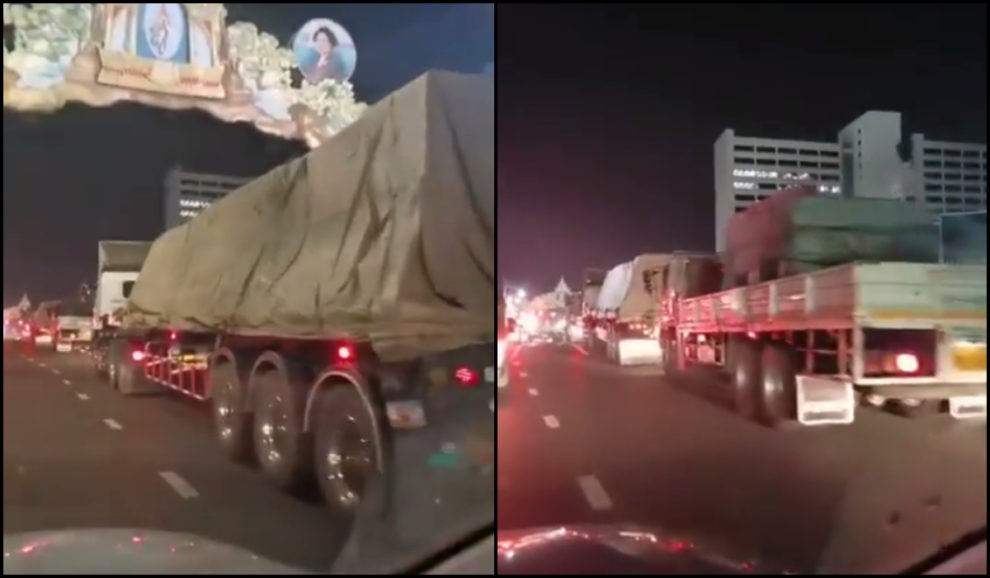 video thai protests truck SCB Bank HQ