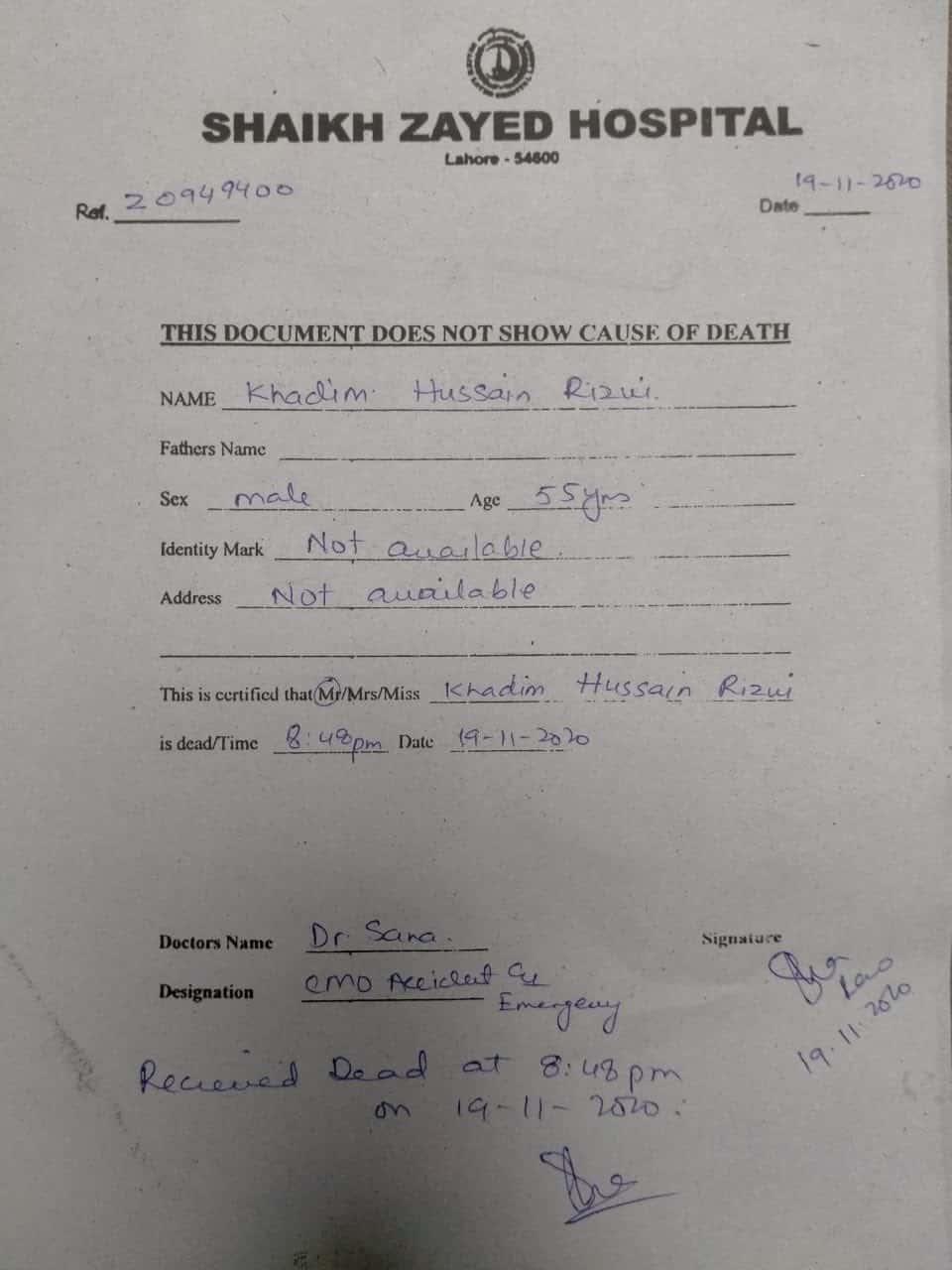 Khadim Hussain Rizvi Death Certificate alive