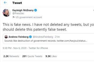 Kayleigh McEnany White House Press Sec delete tweets