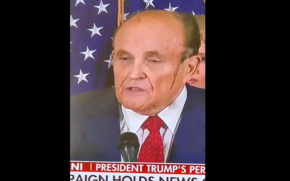 Video Rudy Giuliani Sweating Hair Dye