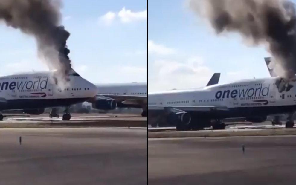 Castellon airport video fire Boeing 747