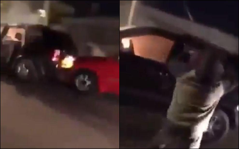 video chicago man beating woman car fire man