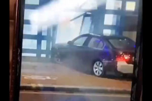 Edmonton police station car crash videos london