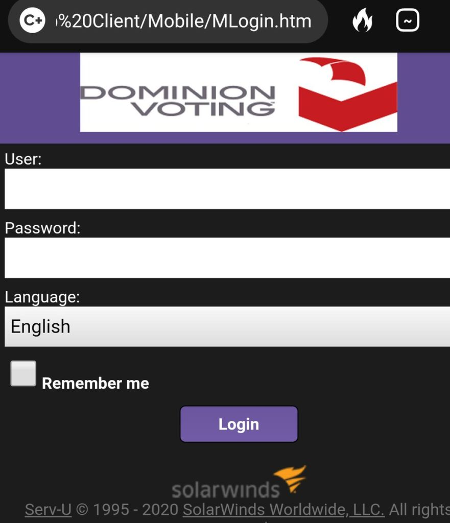 reference and link removed SolarWinds Dominion voting systems website
