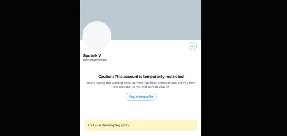 Twitter Sputnik V restricted