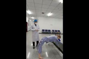china demonstrate anal swab test video