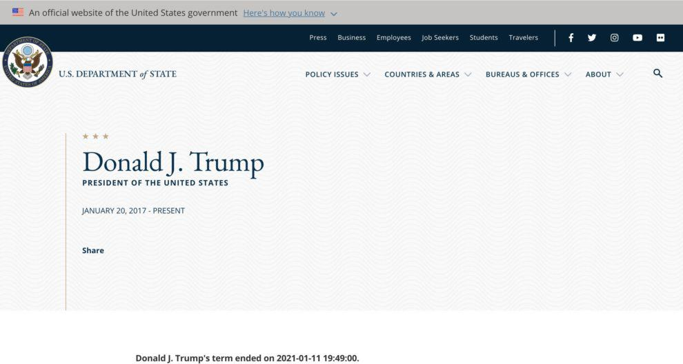 Trump term ended State department