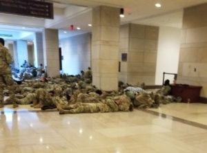 US Capitol national guard troops sleeping