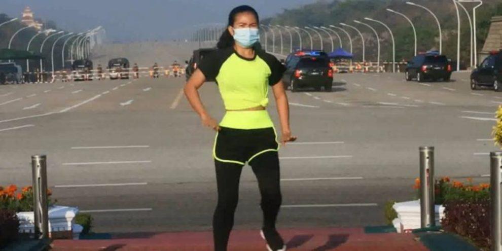 woman aerobics coup myanmar