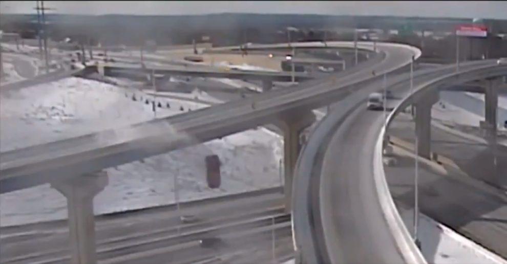 truck falls Wisconsin highway